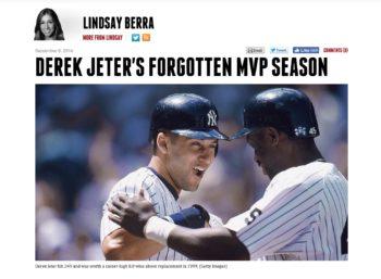 Derek Jeter MVP Sports on Earth Lindsay Berra