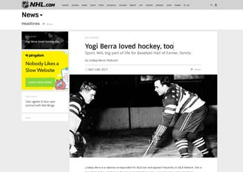 Image of Yogi Berra Playing Hockey